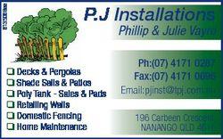 6135068aa P.J Installations  Decks & Pergolas  Shade Sails & Patios  Poly Tank - Sales &...