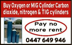 Buy Oxygen or MIG Cylinder Carbon dioxide, nitrogen & TIG cylinders Pay no more rent 0447 649 94...