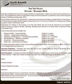 South Burnett Regional Council FREE TREE PROJECT OCTOBER - NOVEMBER 2016 South Burnett Regional Coun...