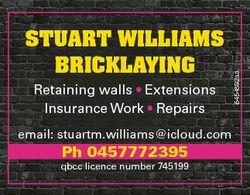 Retaining walls * Extensions Insurance Work * Repairs email: stuartm.williams@icloud.com Ph 04577723...