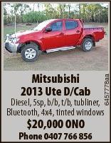 6457778aa Mitsubishi 2013 Ute D/Cab Diesel, 5sp, b/b, t/b, tubliner, Bluetooth, 4x4, tinted windows $20,000 ONO Phone 0407 766 856