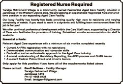 Registered Nurse Required Taralga Retirement Village is a Community owned Residential Aged Care Faci...