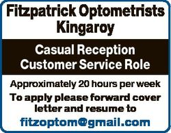 Fitzpatrick Optometrists Kingaroy Casual Reception Customer Service Role Approximately 20 hours per...