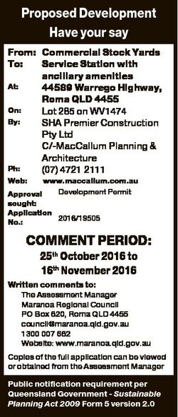 Proposed Development Have your say From: Commercial Stock Yards To: Service Station with ancillary a...