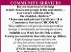 NO COST TRAINING IN COMMUNITY SERVICES