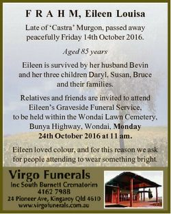 F R A H M, Eileen Louisa Late of `Castra' Murgon, passed away peacefully Friday 14th October 201...