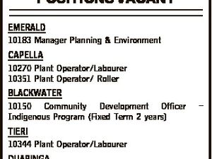 POSITIONS VACANT EMERALD 10183 Manager Planning & Environment CAPELLA 10270 Plant Operator/Labourer 10351 Plant Operator/ Roller BLACKWATER 10150 Community Development Officer Indigenous Program (Fixed Term 2 years) - TIERI 10344 Plant Operator/Labourer DUARINGA 10440 Supervisor Maintenance Rural Above Positions Close: 12 noon Monday 31 October 2016 Email: recruitment@chrc.qld ...