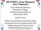 RENFREY, Jean Margaret (nee Chapman)