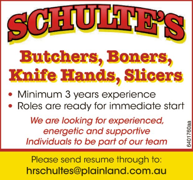 Boners, Knife Hands, Slicers *Minimum 3 years experience *Roles are ready for immediate start We...
