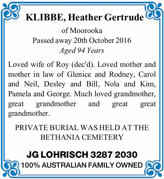 of Moorooka   Passed away 20th October 2016   Aged 94 Years   Loved wife of Roy...