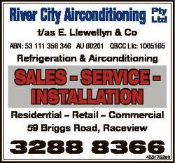 River City Airconditioning Pty Ltd t/as E. Llewellyn & Co ABN: 53 111 356 346 AU 00201 QBCC Lic:...