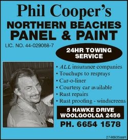 Phil Cooper's NORTHERN BEACHES PANEL & PAINT LIC. NO. 44-029068-7 24HR TOWING SERVICE * ALL...