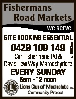 Fishermans Road Markets we serve 0429 109 149 4116643ab SITE BOOKING ESSENTIAL Cnr Fishermans Rd &am...