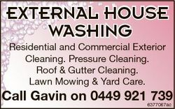 EXTERNAL HOUSE WASHING Residential and Commercial Exterior Cleaning. Pressure Cleaning. Roof & G...