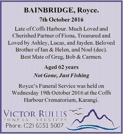 BAINBRIDGE, Royce. 7th October 2016 Late of Coffs Harbour. Much Loved and Cherished Partner of Fiona...