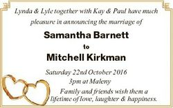 Lynda & Lyle together with Kay & Paul have much pleasure in announcing the marriage of Saman...