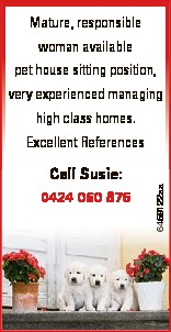 Mature, responsible woman available pet house sitting position, very experienced managing high class...