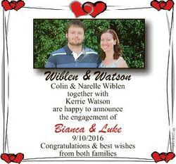 Wiblen & Watson Colin & Narelle Wiblen Bianca & Luke 9/10/2016 Congratulations & bes...
