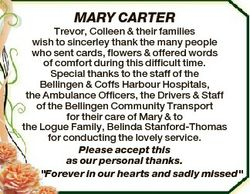 MARY CARTER Trevor, Colleen & their families wish to sincerley thank the many people who sent ca...