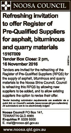 1516T009 Tender Box Close: 2 pm, 16 November 2016 6462917aa Refreshing invitation to offer Register...