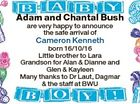 Adam and Chantal Bush are very happy to announce the safe arrival of Cameron Kenneth born 16/10/16 Little brother to Lara Grandson for Alan & Dianne and Glen & Kayleen Many thanks to Dr Laut, Dagmar & the staff at BWU