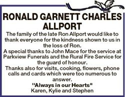 RONALD GARNETT CHARLES ALLPORT The family of the late Ron Allport would like to thank everyone for t...