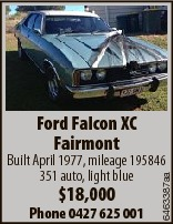 Ford Falcon XC Fairmont $18,000 Phone 0427 625 001 6463387aa Built April 1977, mileage 195846 351 au...