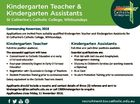 Kindergarten Teacher & Kindergarten Assistants St Catherine's Catholic College, Whitsundays Commencing November, 2016 Applications are invited from suitably qualified Kindergarten Teacher and Kindergarten Assistants for St Catherine's Catholic College, Whitsundays. Kindergarten Teacher Kindergarten Assistants Full-time position available. Full-time and part-time positions available. The successful applicant will have: * Commitment to ...