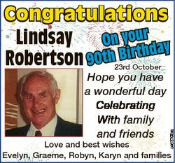 Congratulations Lindsay On your day Robertson 90th Birth 6463708aa 23rd October Hope you have a wond...