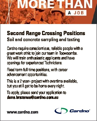 Second Range Crossing Positions Soil and concrete sampling and testing Cardno require conscientio...