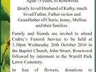 GIBBONS, Cedric George Aged 73 years, of Rosewood Dearly loved Husband of Kathy, much loved Father, Father-in-law and Grandfather of Cherie, Jenny, Mellisa and their families. Family and friends are invited to attend Cedric's Funeral Service to be held at 1.30pm Wednesday 26th October 2016 in the Baptist ...