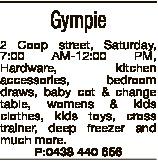 Gympie 2 Coop street, Saturday, 7:00 AM-12:00 PM, Hardware, kitchen accessories, bedroom draws, baby...