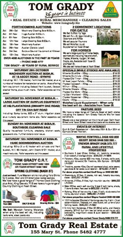 TOM GRADY business 36 33 years in * REAL ESTATE * RURAL MERCHANDISE * CLEARING SALES Website: www.to...
