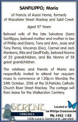 SANFILIPPO; Maria of Francis of Assisi Home, formerly of Macalister Street Mackay and Sybil Creek Ag...