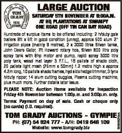 LARGE AUCTION SATURDAY 5Th NOVEMBER AT 9:00A.M. AT hQ PLANTATIONS AT SWAMPY ONE ROAD (OFF TIN CAN BA...