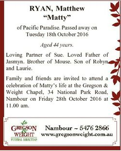 "RYAN, Matthew ""Matty"" of Pacific Paradise. Passed away on Tuesday 18th October 2016 Aged 4..."