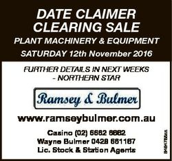 DATE CLAIMER CLEARING SALE PLANT MACHINERY & EQUIPMENT SATURDAY 12th November 2016 FURTHER DETAI...