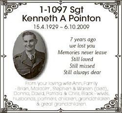 1-1097 Sgt Kenneth A Pointon 15.4.1929  6.10.2009 FFrom your lloving wife Ann, Family - Brian, Malco...