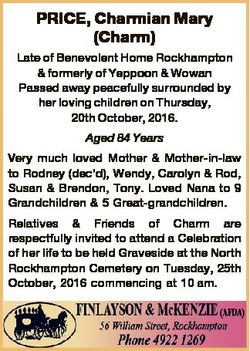 PRICE, Charmian Mary (Charm) Late of Benevolent Home Rockhampton & formerly of Yeppoon & Wow...
