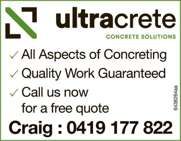 All Aspects of Concreting Quality Work Guaranteed Call us now for a free quote  Craig : 0...