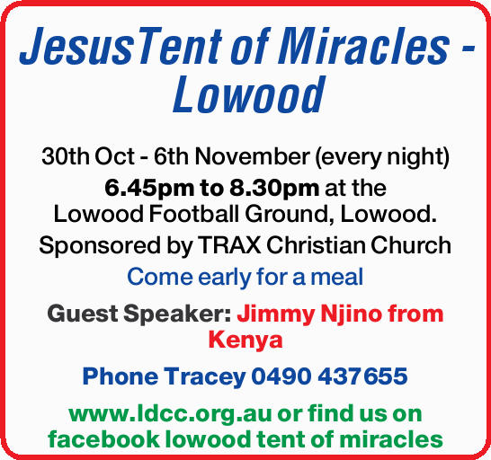30th Oct - 6th November (every night) 6.45pm to 8.30pm at the Lowood Football Ground, Lowoo...