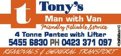 Man with Van Friendly Reliable Service 4 Tonne Pantec with Lifter 5455 6830 PH 0423 371 097 REMOVALS...