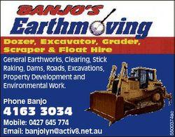 Dozer, Excavator, Grader, Scraper & Float Hire General Earthworks, Clearing, Stick Raking, Dams,...