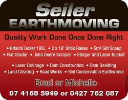 Seiler EARTHMOVING Quality Work Done Once Done Right * Hitachi Dozer 195L * 2 x 18' Stick Rakes...