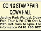 COIN & STAMP FAIR QCWA HALL