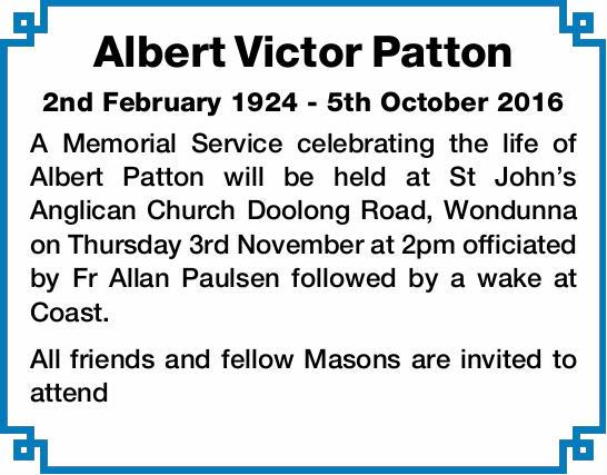 2nd February 1924 - 5th October 2016   A Memorial Service celebrating the life of Albert Patt...