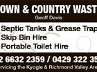 TOWN & COUNTRY WASTE Geoff Davis 3985339ABHC * Septic Tanks & Grease Traps * Skip Bin Hire * Portable Toilet Hire 02 6632 2359 / 0429 322 359 Servicing the Kyogle & Richmond Valley Areas