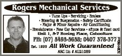 Rogers Mechanical Services * Tune Ups * Servicing * Brakes * Steering & Suspension * Safety Cert...