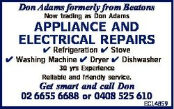 Don Adams formerly from Beatons Now trading as Don Adams APPLIANCE AND ELECTRICAL REPAIRS  Refrigera...
