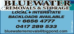 BLUEWATER LOCAL  INTERSTATE BACKLOADS AVAILABLE  6656 4777 0417 289 533 bluewaterremovals@bigpond.co...